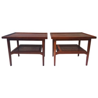 Mid Century Tiered Drexel Side Tables - Pair
