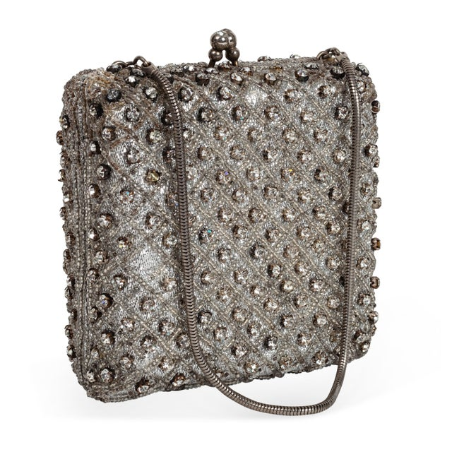 Image of Silver Rhinestone Box Handbag