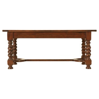 Spectacular Vintage French Walnut Table w/Chunky Barley Twist & Drawers