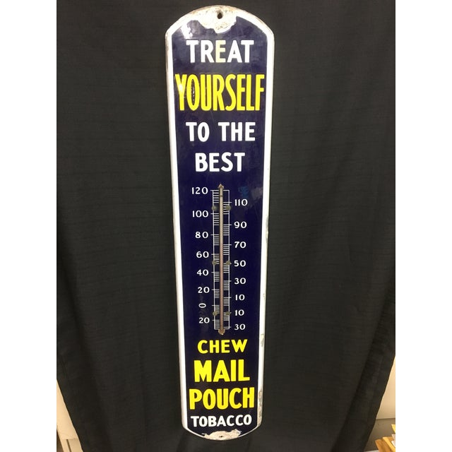 Image of Mail Pouch Tobacco Porcelain and Metal Thermometer
