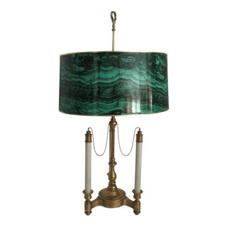 Brass Bouillotte Lamp & Faux Malachite Shade