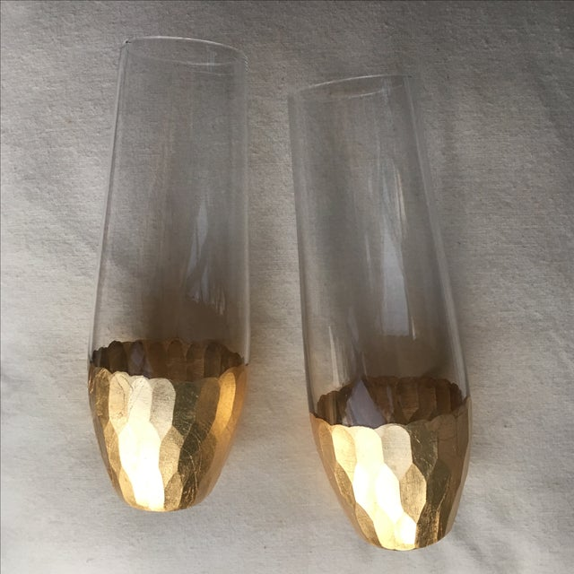 Gold Leaf Base Champagne Flutes - A Pair - Image 3 of 7