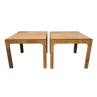 Henredon Scene Two Burl Olive Wood Side Tables - A Pair