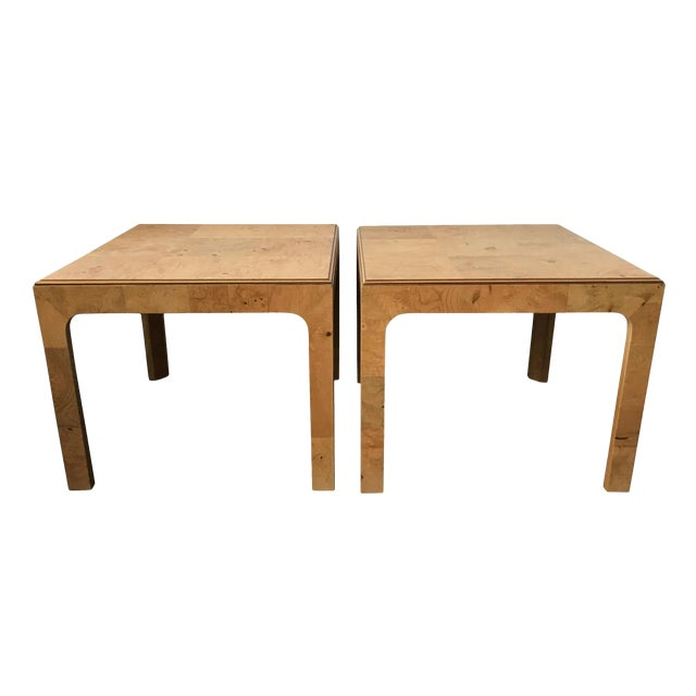 Henredon Scene Two Burl Olive Wood Side Tables - A Pair - Image 1 of 4