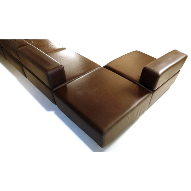 Harvey Probber Chocolate Brown Leather 'Cubo' Sectional Sofa - Image 9 of 9