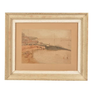 A charming watercolour of Broadstairs, England c.1890 with the original matting and frame.