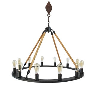 Industrial Rope & Iron Ring Chandelier