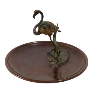 Flamingo Accented Metal Dish