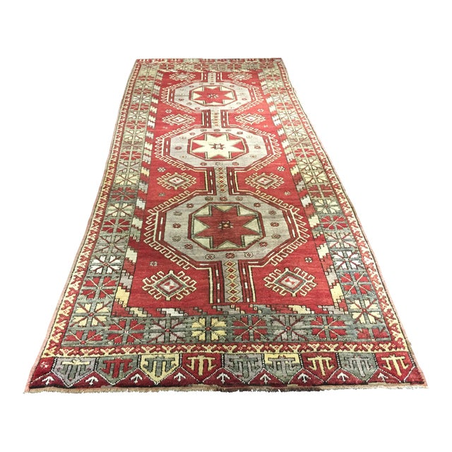 "Vintage Turkish Medallion Runner - 5'x11'6"" - Image 1 of 9"