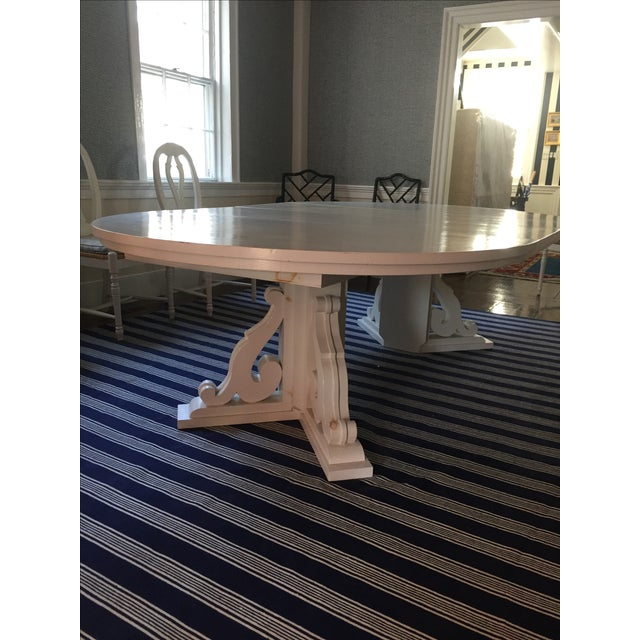 Image of White Dining Table with Two Leaves