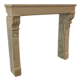 Antique Limestone Mantel with Carved Corbels, circa 1800