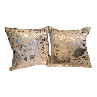 Metallic Silver Faux Cowhide Pillow Covers - A Pair