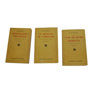 Vintage French Yellow Paperback Books - Set of 3