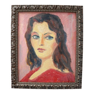 1950s French Oil Portrait of a Woman