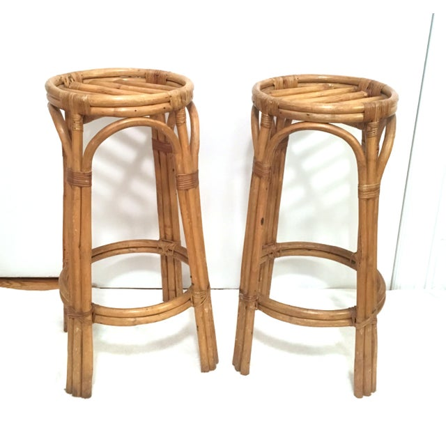 Vintage Rattan Stools or Plant Stands - a Pair - Image 3 of 7
