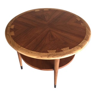 Lane Acclaim Mid-Century Modern Round Dovetail Inlay Side Table