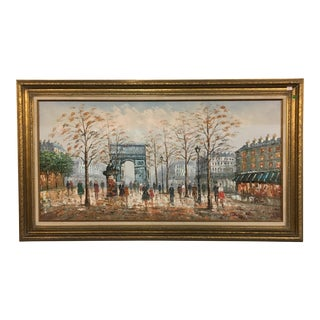 Framed Arc De Triomphe Oil Painting by J. Bardot