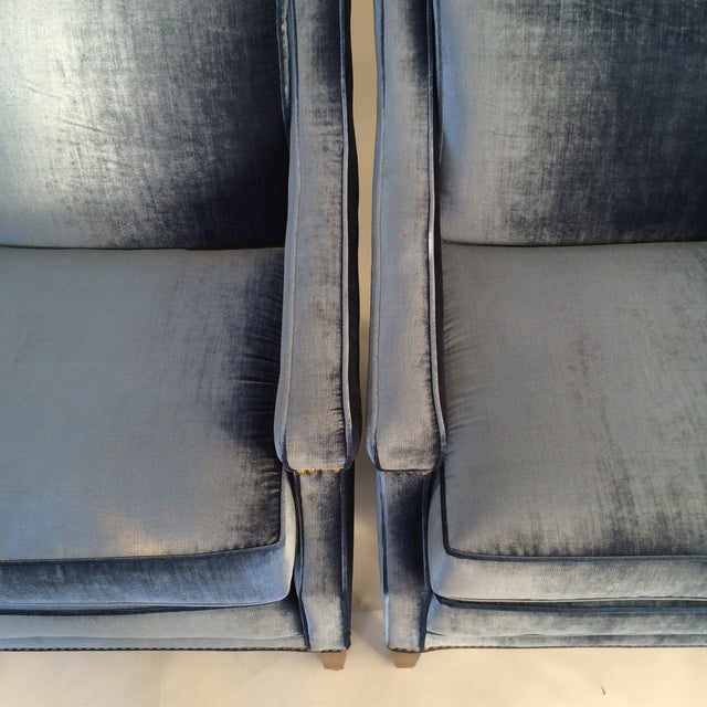 Mid-Century Blue Velvet Club Chairs - A Pair - Image 4 of 10