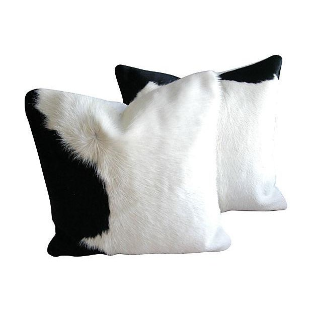 Black & White Cowhide & Down Pillows - A Pair - Image 1 of 3