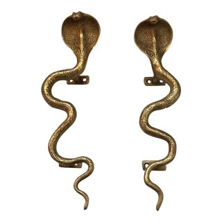 Hollywood Regency Gold Brass Cobra Door Handles- a Pair