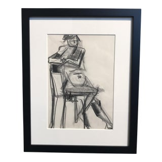 Vintage Charcoal Seated Nude Drawing
