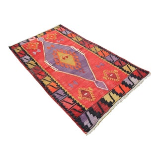 "Vintage Turkish Tribal Oushak Kilim Rug - 2'11"" X 5'1"""