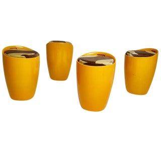Velvet Upholstered Orange Fiberglass Stools - Set of 4