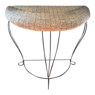 Wrought Iron & Rattan Console