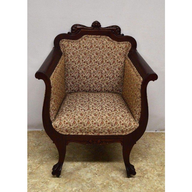 Antique Mahogany 3pc Parlor Set : Settee , Arm Chair , Chair - Image 7 of 11