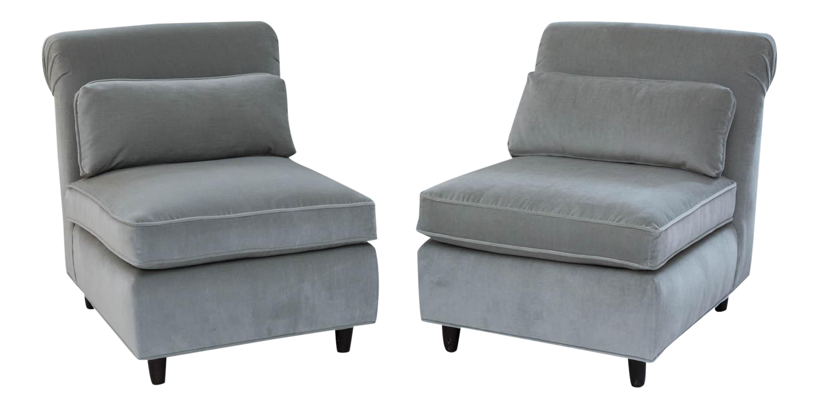 midcentury slipper chairs a pair