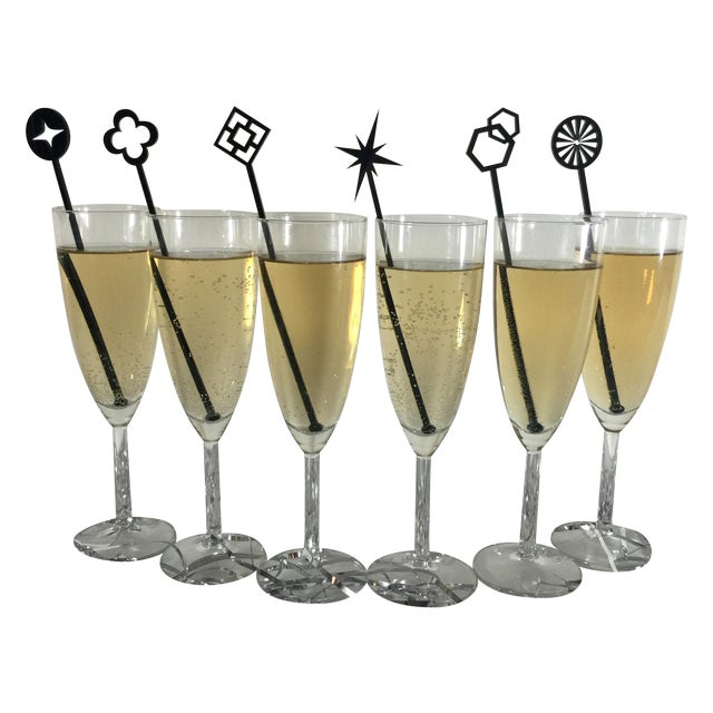 Geometric Black Drink Stirrers - Set of 6 - Image 2 of 7