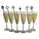 Image of Geometric Black Drink Stirrers - Set of 6