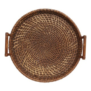 Vintage Oversize large Wicker & Bamboo tray