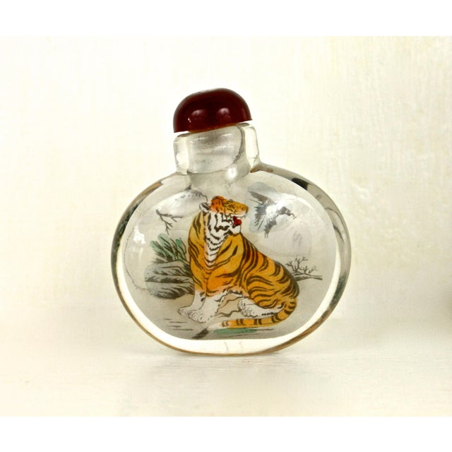 Asian Art Glass Painted Bottle - Image 3 of 6