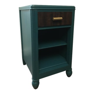 Vintage Emerald & Brown Nightstand