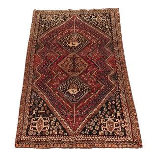 "Vintage Persian Qashghi Area Rug - 4'7"" x 7'2"""