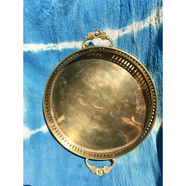 Vintage Brass Tray with Handles - Image 2 of 6