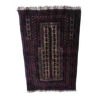"Vintage Baluch Prayer Handmade Rug - 3′ × 4""10"""