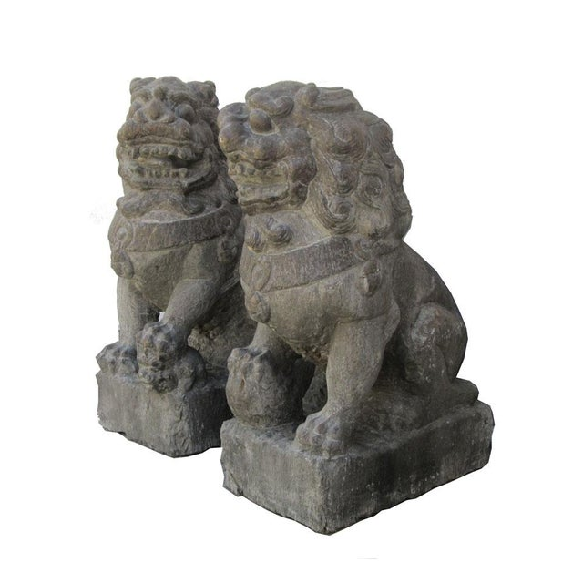 Vintage Stone Foo Dogs- A Pair - Image 2 of 6