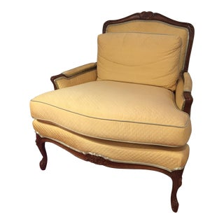 Vintage Canary Yellow Upholstered Armchair