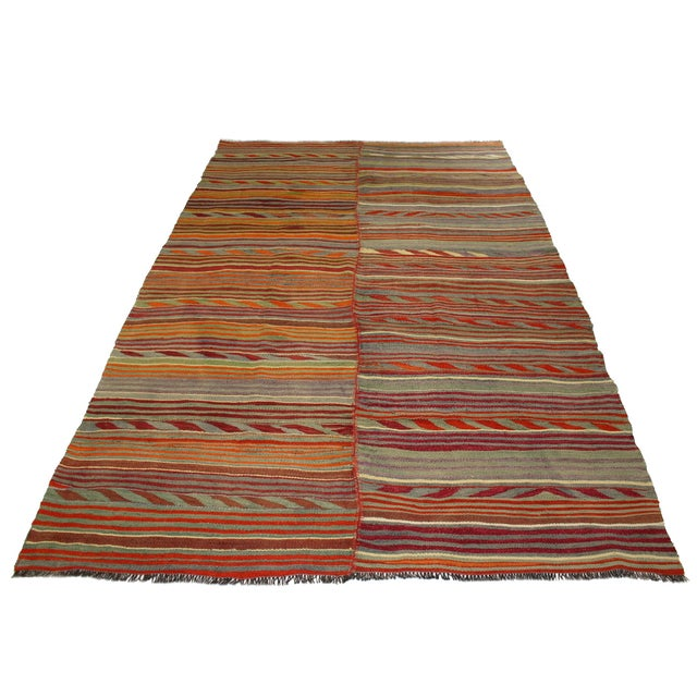 Two-Panel Vintage Turkish Kilim Rug - 6'3 X 8'9 - Image 4 of 4