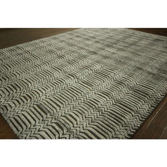 "Wool Silk Rugs Contemporary: Modern Wool & Silk Area Rug - 9'4"" X 12'1"""