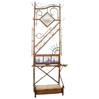 Bamboo Hall Stand with Delft Tiles inset