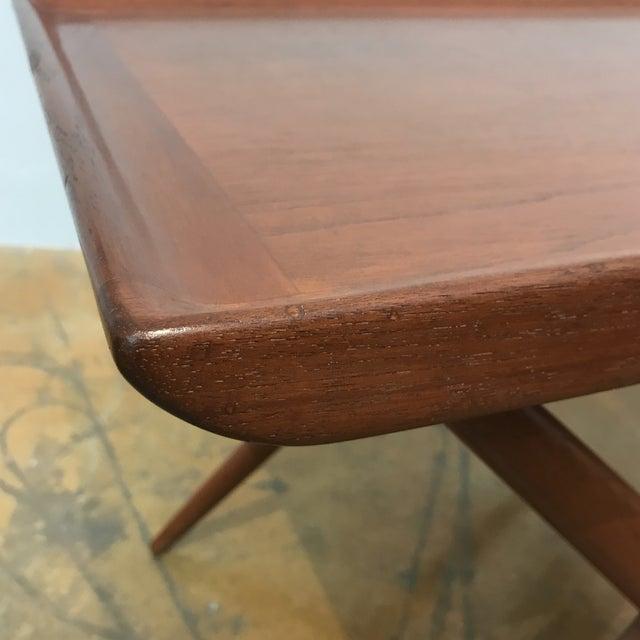 Teak X-Base Side Table W/ Magazine Basket - Image 5 of 5