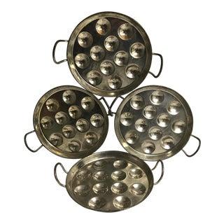 Vintage French Metal Escargot Plates - Set of 4