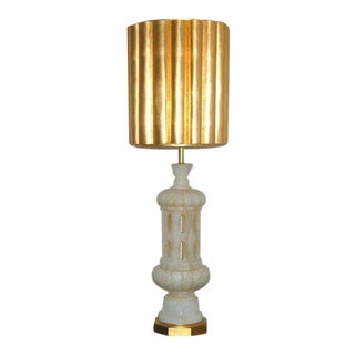 Monumental Alabaster Table Lamp by Marbro