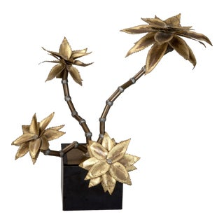 Mid-Century Brass Metal Flower Sculpture in Manner of Maison Jansen
