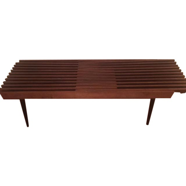 Mid Century Modern Slatted Coffee Table Bench - Image 1 of 4