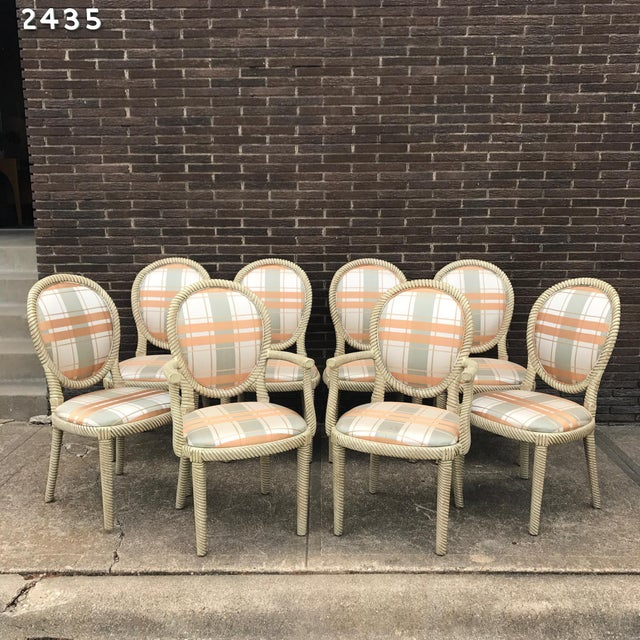 Vintage Carved Rope Dining Chairs - Set of 8 - Image 2 of 10
