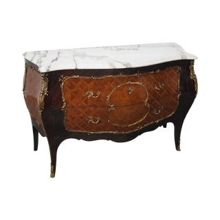 French Louis XV Style Bombe Marble Top Commode